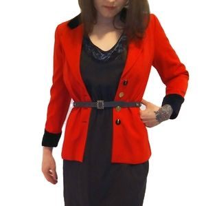 Vintage Escada Red Wool & Black Velvet Blazer 04
